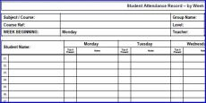 Printable Weekly Attendance Sheet