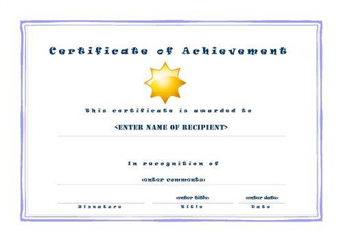 Certificate of Achievement 001 - A4 Landscape - Casual