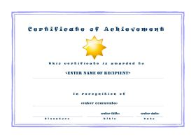 Free Printable Certificates of Acheivement - A4 Landscape - Casual