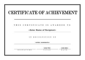 Certificate of Achievement in Landscape page setup