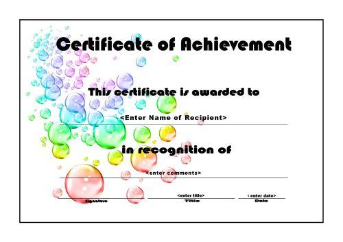 Certificate of Achievement 006 - A4 Landscape - Bubbles