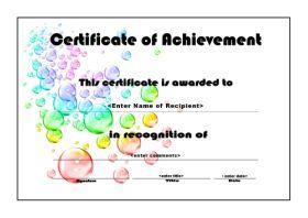Free Printable Certificates of Achievement - A4 Landscape - Bubbles