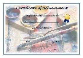 Free Printable Certificates of Achievement - A4 Landscape - Painting