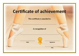 Certificate of achievement - Dance