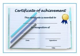 Certificate of Achievement - A4 Landscape - Writing
