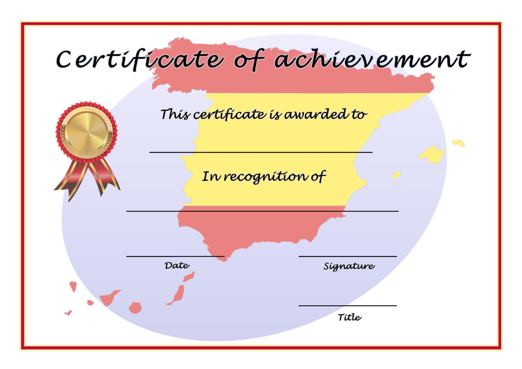 Certificate of Achievement - Spanish 1