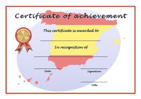 Certificate of Achievement - A4 Landscape - Spanish 1