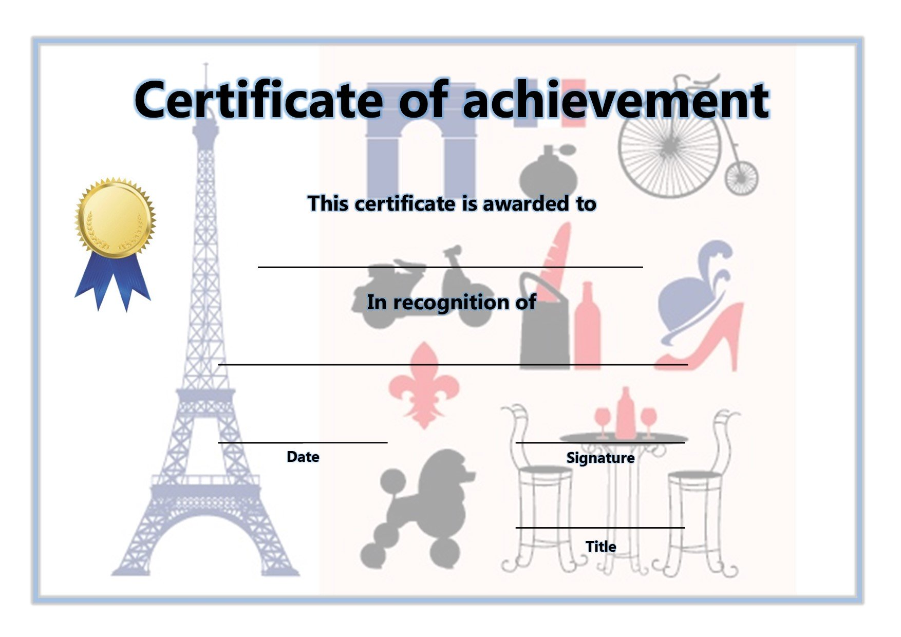 Certificate of Achievement - French 1