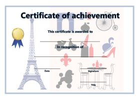 Certificate of Achievement - A4 Landscape - French 1