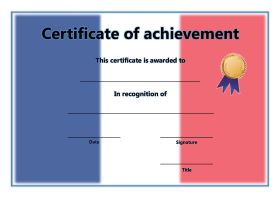 Free Printable Certificates of Achievement - A4 Landscape - French 2
