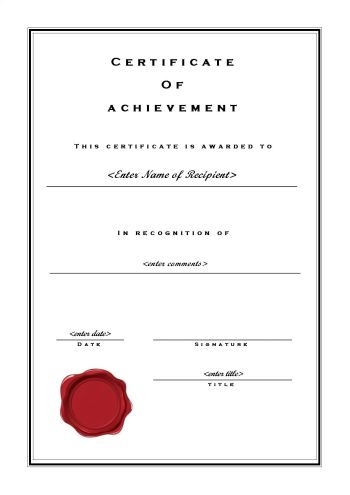 Certificate of Achievement 102 - A4 Portrait - Formal