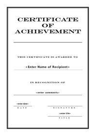 free printable certificates of achievement - Certificate Of Achievement Template Free