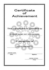 Class Templates  Printable Certificates Of Achievement