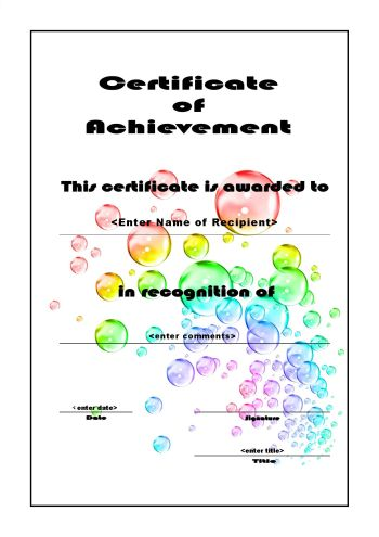 Certificate of Achievement 106 - A4 Portrait - Bubbles