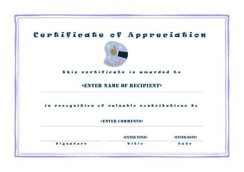Certificate of Appreciation 001 - A4 Landscape - Casual
