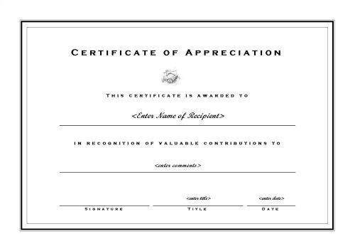 Certificates of Appreciation 002 - A4 Landscape - Formal