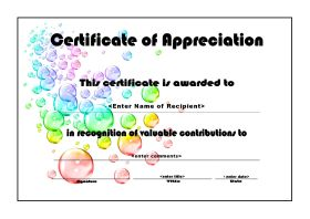Certificate of Appreciation - A4 Landscape - Bubbles
