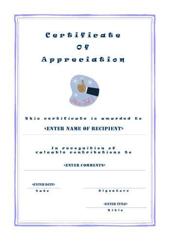 Certificate of Appreciation - A4 Portrait - Casual