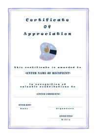 Certificate of Appreciation - A4 Portrait - Casual