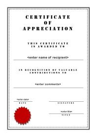 Certificate of Appreciation - A4 Portrait