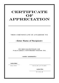 Class Templates  Certificate Of Appreciation Template For Word