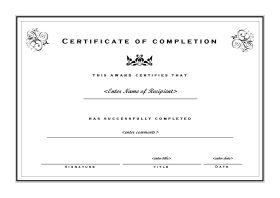 Certificate of Completion - A4 Landscape