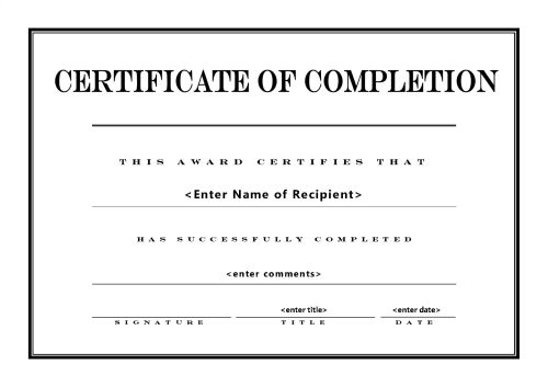 Certificate of completion 004 for Baptism class certificate template