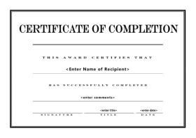 template for certificate of completion free