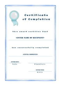 Certificate of Completion - A4 Portrait