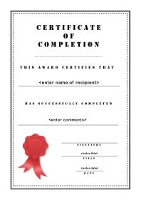 Free Certificate Template Of Completion A4 Portrait Stencil