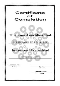 free certificate template of completion a4 portrait circles
