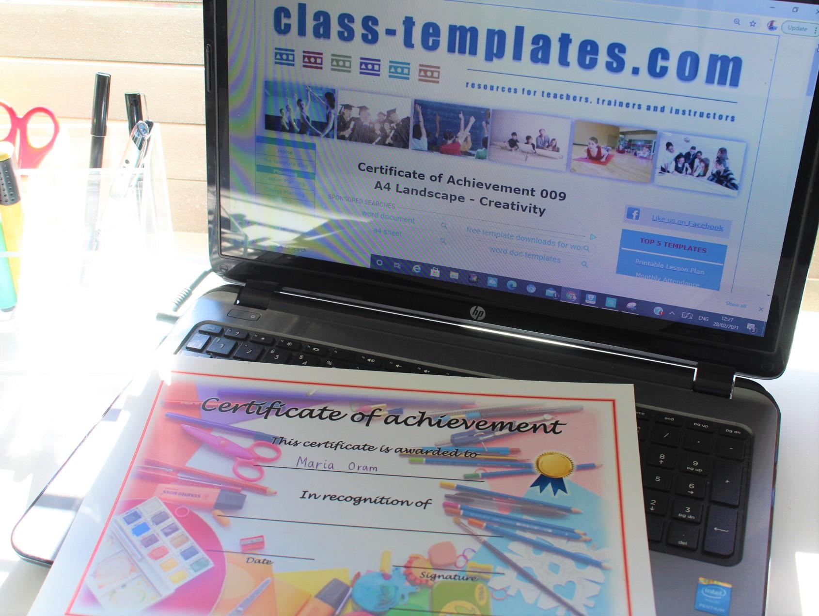 Certificate of appreciation on laptop