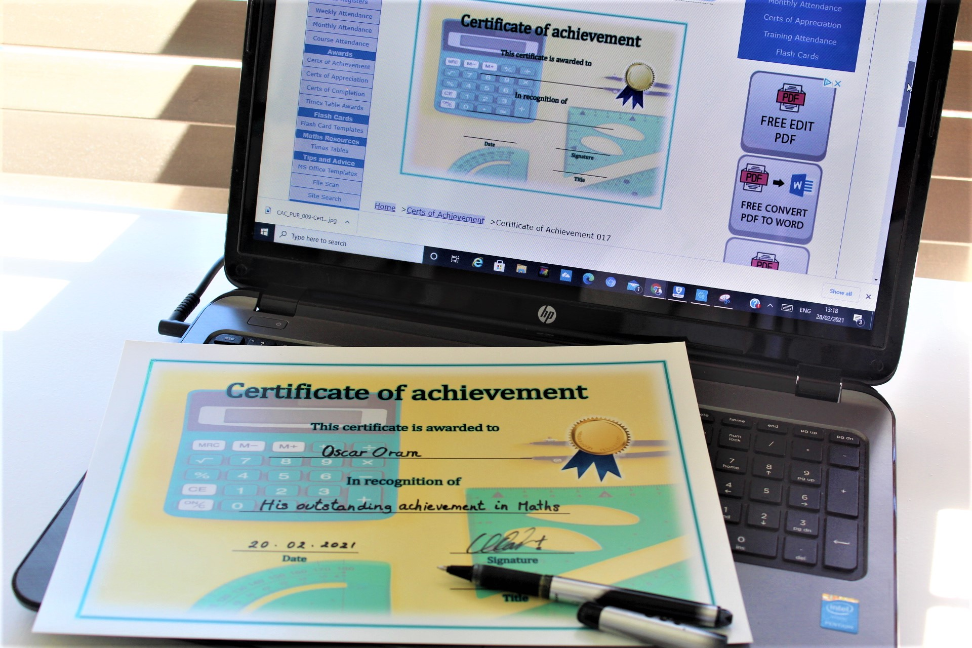 Certificates of Achievement, Completion and Appreciation