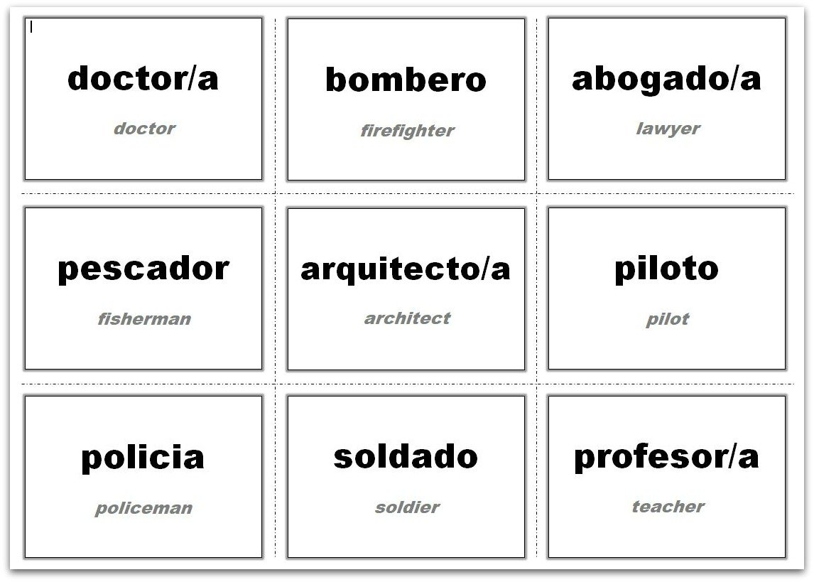 Example of how the Vocabulary Flash Cards 3x3 Template has been used for Spanish lessons
