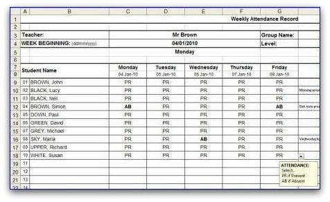 Weekly attendance sheet weekly attendance sheet template in ms excel format altavistaventures Image collections