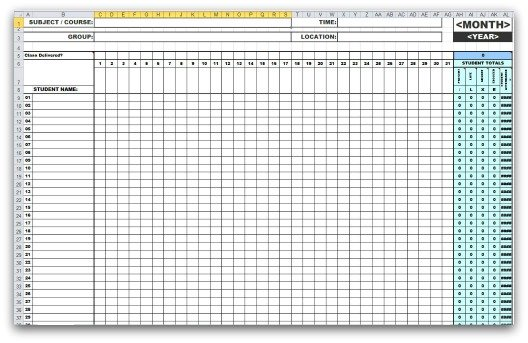 monthly attendance templates in ms excel. Black Bedroom Furniture Sets. Home Design Ideas