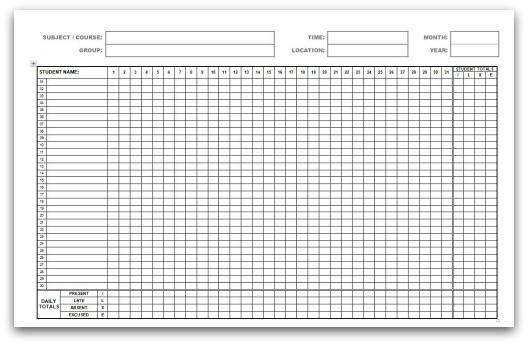 graphic relating to Attendance Sheet Printable known as Printable Attendance Calendars