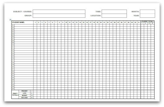 monthly attendance forms